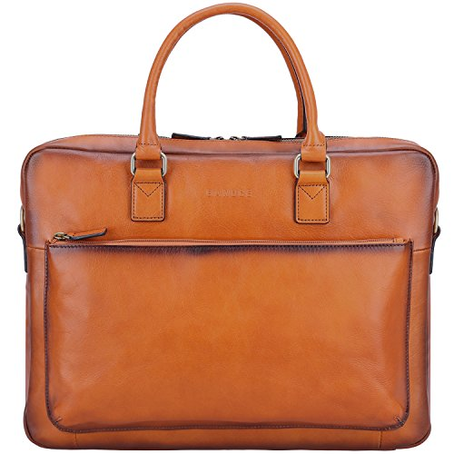 Banuce Men's Vintage Leather Tote Briefcase Business 14'' Laptop Bag Shoulder Messenger Bags by Banuce