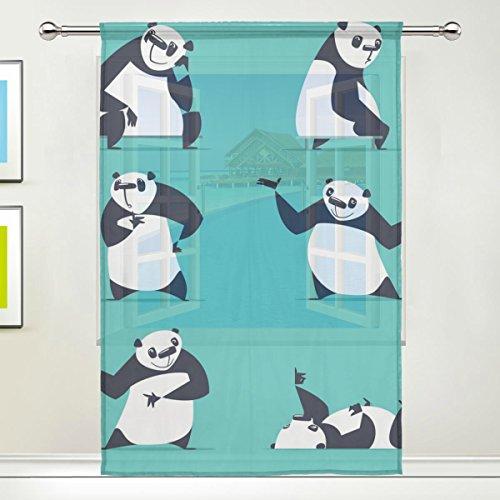 LEISISI Cute Panda Print Tulle Voile Door Window Room Sheer Curtain Drape 1 Panel Scarf Valances Wide Width Gauze Curtain for Bedroom Single panel 55x78(inch)