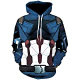 TAKUSHI HF Unisex Fashion Galaxy 3D Digital Printed Pullover Hoodies Hooded Sweatshirts for Sport and Party (Captain America, S/M)