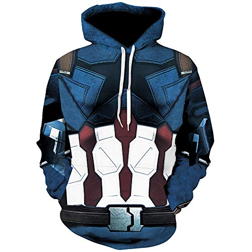 TAKUSHI HF Unisex Fashion Galaxy 3D Digital Printed Pullover Hoodies Hooded Sweatshirts for Sport and Party (Captain America, L/XL)