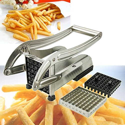 Blades Stainless Steel French Fry Cutter Potato Vegetable Slicer Chopper Dicer Kitchen Tools (Silver) ()