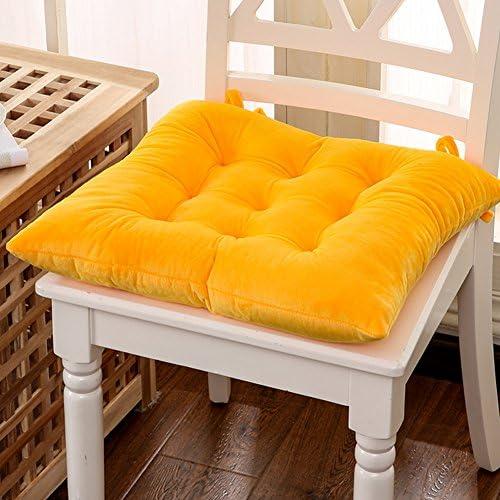 Pure Color Soft Chair Cushion Dining Seat Cushion Thicken Plush Chair Cushion Yellow