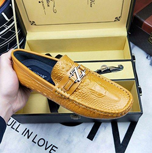 di moda modello di di Scarpe del HAOYUXIANG uomo Marrone 43 Colore scarpe per alla cuoio da scarpe libero tempo cuoio scarpe coccodrillo il piselli di Bianca moda dimensioni del YZ77xUOw