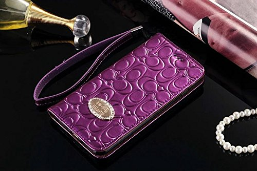 iPhone6/6S Plus --US Fast Deliver Guarantee FBA-- Luxury PU Leather Wallet Style Flip Cover Case For Apple iPhone6/6S Plus Only (Purple) (Coach Iphone Case)