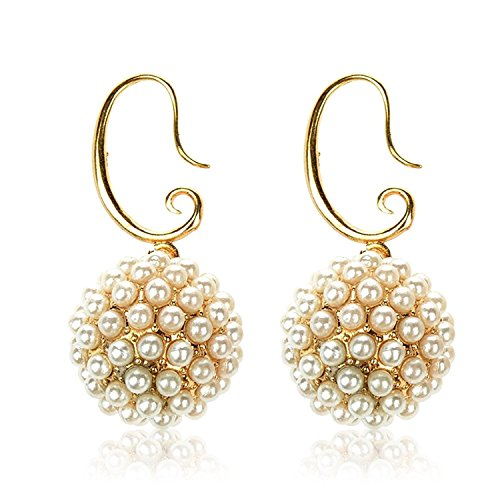 [TAGOO Indian Ball Dangle & Drop Earrings Jewelry, Imitation Pearl Costume Earrings Set for Women &] (Indian Costume Ideas For Women)