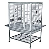 KINGS CAGES FLAT TOP ALUMINUM PARROT CAGE ACF3325 bird toy toys african grey amazon eclectus (SILVER, FLAT TOP), My Pet Supplies