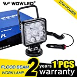 WOWLED 27W Portable LED Work Light Flood Lamp with Magnetic Base for Car, Off-road, Truck, Boat, Tractor, Truck, Engineering Vehicle, Maintenance, Camping Light DC 9-32V …