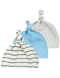 October Elf 3 Pack Unisex Baby Cotton Adjustable Knot Hat Beanie Cap (F)