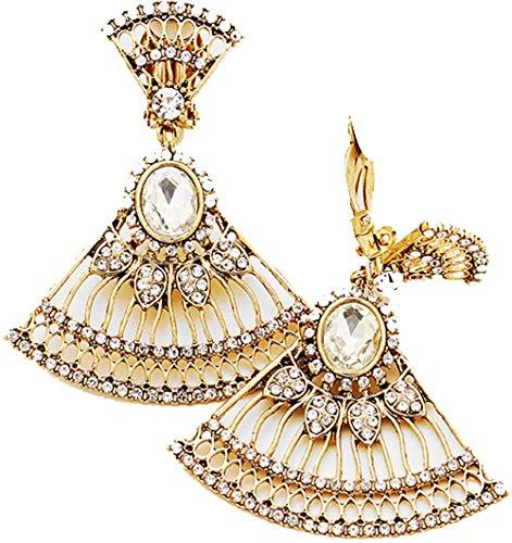 Vintage Style Fan Goldtone Dangle Clip/Non Pierced Earrings 2.25 - Clip Style Vintage Earrings