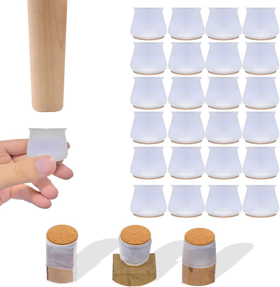 24Pcs Silicone Chair Leg Floor Protectors,with Felt Pads Chair Leg Covers, Furniture Silicon Protection Cover Easy to Move,Prevent Floor Scratches, Reduce Noise
