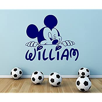 Personalized Name Wall Decal Mickey Mouse Decals Cartoon Sticker Boy  Nursery Kids Room Bedroom Home Decor