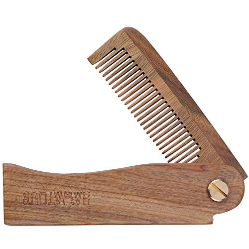 Beard Comb, Pocket Size Foldable Natural Wood Mustache Comb for Men by HAWATOOUR