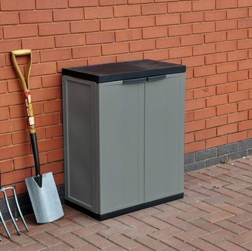 ASAB Kingfisher - Armario de Almacenamiento para Garaje de jardín, tamaño Mediano, cobertizo de plástico para Interior y Exterior, Puertas con Cerradura ...