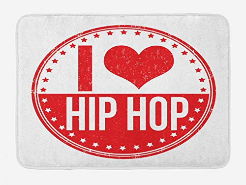 Ambesonne Hip Hop Bath Mat, I Love Hip Hop Phrase on a Circular Grungy Background with Star Shapes, Plush Bathroom Decor Mat with Non Slip Backing, 29.5