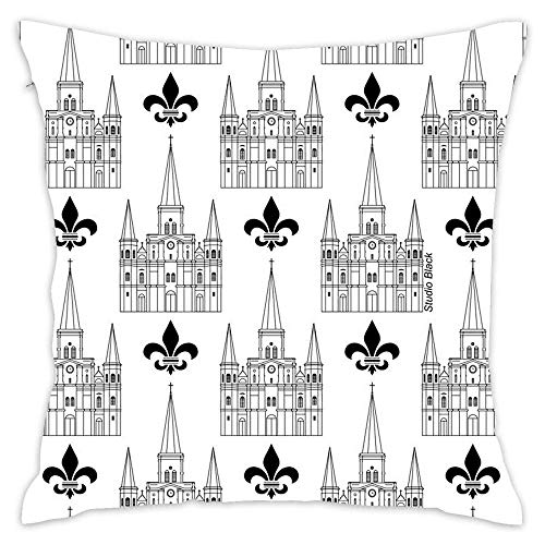 New Orleans St Louis Cathedral Pattern Black Cotton Square Throw Pillow Case Cushion Cover Pillowcase for Home Office Sofa 18 x 18 Inch -