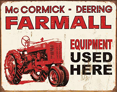 Farmall Tractor Signs - Desperate Enterprises McCormick-Deering Farmall Equipment Used Here Tractor Tin Sign, 16