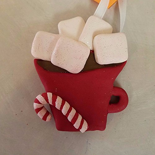 MUG of HOT COCOA with MARSHMALLOWS Family of 5 CHRISTMAS ORNAMENT Hand Made Polymer Clay OOAK Can be personalized