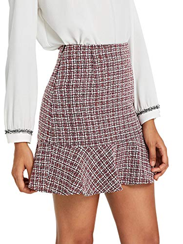 MAKEMECHIC Women's Ruffle Hem Above Knee Mid Waist A Line Mini Skirt Multicolor ()