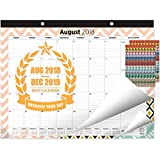 Oriday 2018-2019 Monthly Yearly Desk&Wall Pad Calendar + 2 Sets of Stickers - Daily Planner & to-Do List Notepad (17 Months - August 2018 to December 2019, 22'' x 17'', Academic)