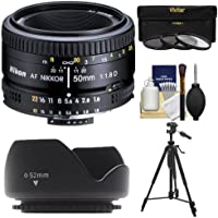Nikon 50mm f/1.8D AF Nikkor Lens with 3 Filters + Hood + Tripod Kit for D7100, D7200, D610, D750, D810 Cameras