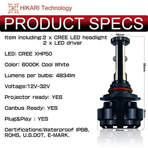 Hikari Led Headlight Bulbs Conversion Kit Hb3 9005 Cree