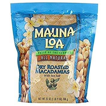 Mauna Loa Dry Roasted Macadamia Nuts with Sea Salt All Natural (25 oz Bag)