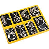 Mercurry IQ Toys, IQ Test Mind Game Toys Brain Teaser Metal Wire Puzzles Magic Trick Toy, Metal IQ Puzzle Set of 16