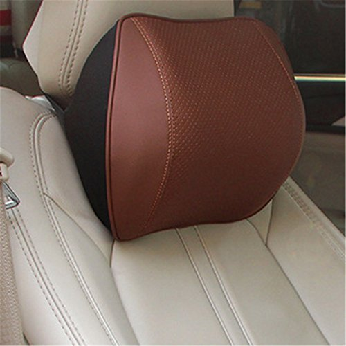 Memory Foam Leather Car Seat Lumbar Support Cushion Lower Back Pillow and Car Headrest Neck Pillow Orthopedic Backrest