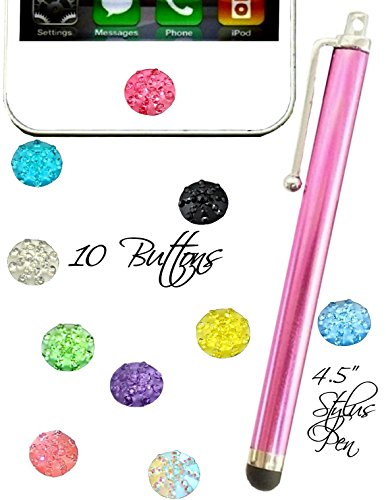 For Girls Bling Home Button Stickers Set of 10 Pink Rose Blue Black green clear pearl Plus Stylus pen Fits iphone ipad ipod all colors (Blush Pink) (Bling Iphone Home Button)