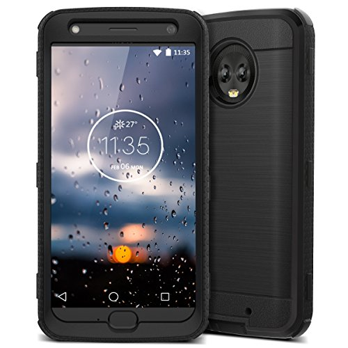 Moto X4 Case, CinoCase X4 Phone Case Heavy Duty Rugged Armor Protective Case Hybrid TPU Bumper Shockproof Case with Brushed Metal Texture Hard PC Back for Moto X4 Black