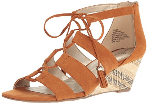 Bandolino Women's Opiuma Wedge Sandal, Luggage, 7.5 M US