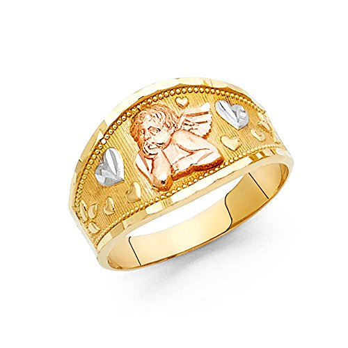 Solid 14k Yellow White Rose Gold Angel & Heart Band Ring Cupid Love Band Tapered Tri Color 11MM, Size 7 by ZenJewels (Image #1)
