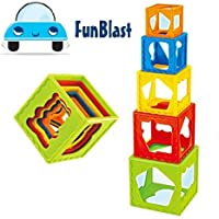 FunBlast Stacking Cubes (Set of 5 Pcs), Stacking Toys for Baby (Multi Color)