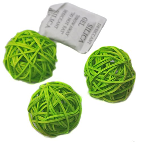 Ougual Set of 10pcs Wicker Rattan Balls Table Wedding Party Christmas Decorative (Diameter 4cm, (Wicker Green)