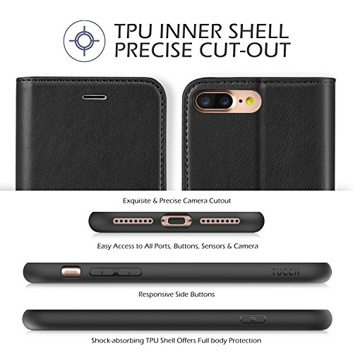 iPhone 8 Plus Wallet Case, iPhone 7 Plus Case, TUCCH Premium PU Leather Flip Folio Case with Card Slot, Cash Clip, Stand Holder and Magnetic Closure [TPU Shockproof Interior Protective Case], Black by TUCCH (Image #4)