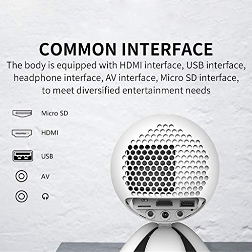 Mini Projector, Video Projector Support USB HDMI SD AV for Home Theater Movie Game (White)