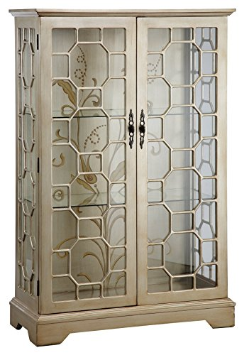 Curio Cabinet China Display (Stein World Furniture Diana Display Cabinet, Silver, Gold)