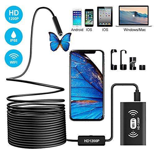 Wireless Endoscope, Semi-rigid WiFi Borescope 2.0MP Inspection Camera 1200P HD IP68 Waterproof Snake Camera with 8...