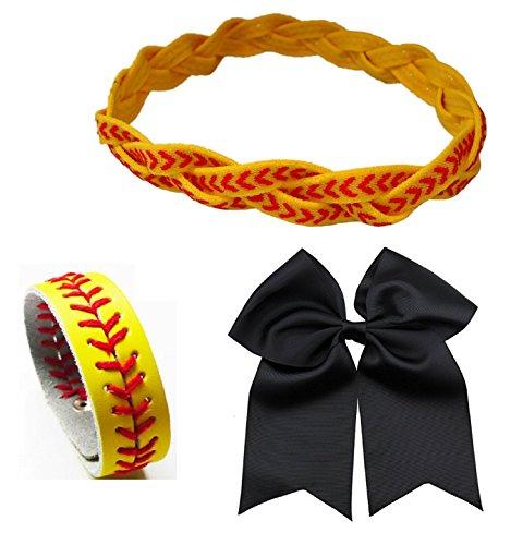 Kenz Laurenz Softball Headband Set - Leather Seamed Headbands Yellow with Red Stitching, Softball Bow, Softball Bracelet USA, Softball Bow Hair Ties (Softball Set Headband Bracelet Bow)