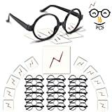 YoHold Wizard Glasses with Round Frame No Lenses and Lightning Bolt Tattoos for Kids Harry Potter, Halloween, St Patrick's Day Costume Party, 16 Pack of Each, Black
