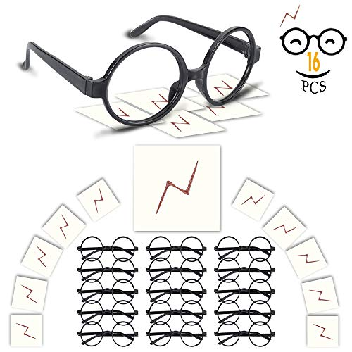 YoHold Wizard Glasses with Round Frame No Lenses and Lightning Bolt Tattoos for Kids Halloween, St Patrick's Day Costume Party, 16 Pack of Each, Black -