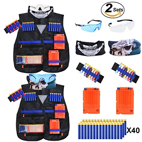 POKONBOY 2 Sets Kids Tactical Vest Kits Compatible with Nerf Guns N-Strike Elite Series with Wrist Bands, Quick Reload Clips, Protective Glasses, Refill Bullets and Masks for Boys Toy Guns Fun