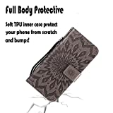 NOMO iPhone Xs Max Case,iPhone Xs Max Wallet Case,iPhone Xs Max Flip Case PU Leather Emboss Mandala Sun Flower Folio Magnetic Kickstand Cover with Card Slots for iPhone Xs Max Gray