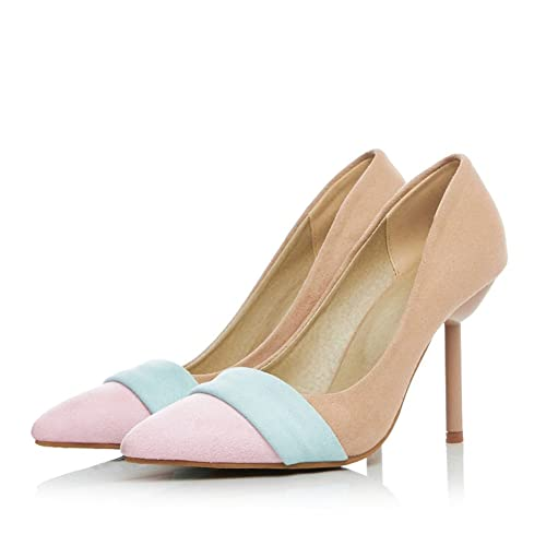 54fef8a925c Kitten Heeled Women Cute Macaron Color Yellow Pink Blue Point Toe High Heels  D Orsay