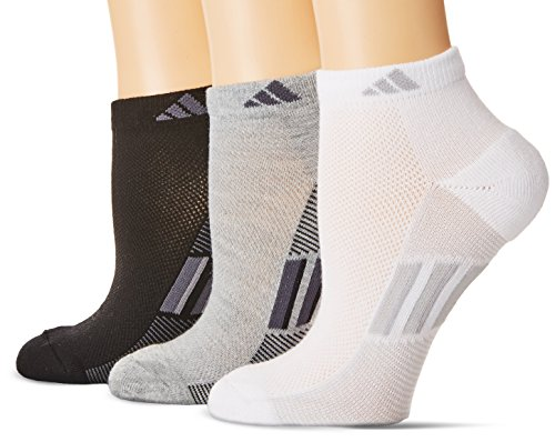 adidas Womens Climacool Superlite Low Cut Socks (3-Pack), Grey/Black/Light Onix White, Size 5-10