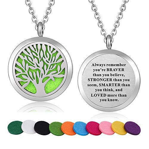 WPFdesign Stainless Steel Tree of Life Aroma Therapy Aromatherapy Essential Oil Diffuser Necklace Locket ()