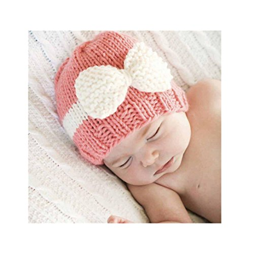 Highpot Newborn Baby Boy Girl Knitted Wool Bow Beanie Crochet Winter Warm Hat (Pink)