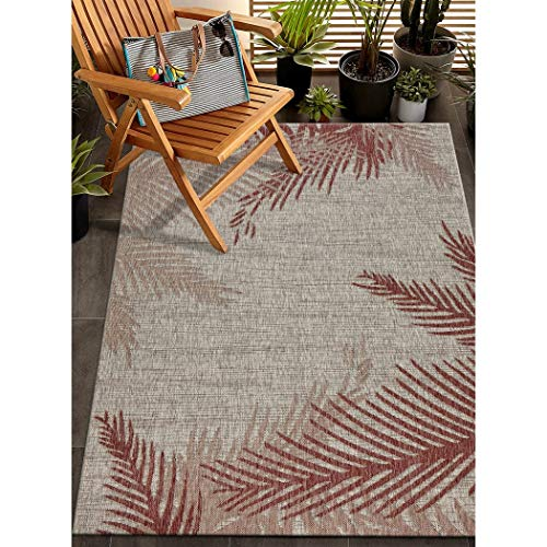 LV 5x7 Beige Red Beach Palm Trees Area Rug Rectangle, Indoor/Outdoor Tan Nautical Ocean Carpet for Patio Coastal Floor Mat Sea Cottage Lake House Marine Life Vacation, Polypropylene