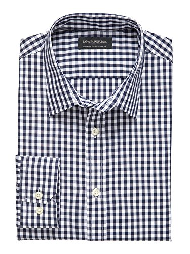 banana-republic-mens-tailored-slim-fit-non-iron-button-down-shirt-medium-midnight-gingham