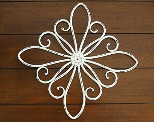 Metal Traditional Scrolled - Metal Scrolled Wall Hanging / Metal Wall Decor / Antique White or Pick Color / Shabby Chic Vintage Style Medallion / Indoor Outdoor Metal Art